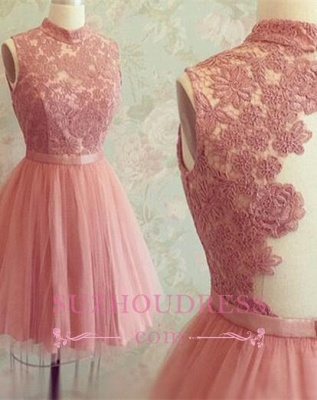 High-Neck Mini Lace Appliques Newest Sleeveless Homecoming Dress_1