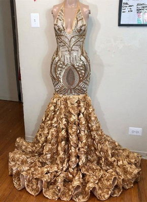 Glamorous Gold Sequins V-Neck Prom Dress | 2020 Mermaid Flowers Bottom Evening Gowns BC1764_1