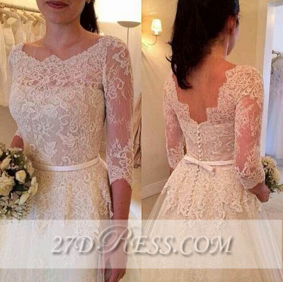 3/4 Sleeve Lace A-Line Wedding Dresses Tulle Bowknot Simple Bridal Gowns_1