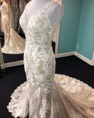 Lace Marvelous Mermaid Appliques V-neck Sleeveless Wedding Dresses_3