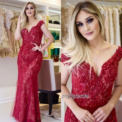 Red lace prom dress, 2020 mermaid evening gowns_5