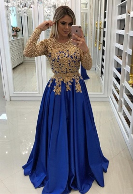 Modern Royal Blue & Gold Lace Evening Dress | Long Sleeve Party Gown BC0144_1