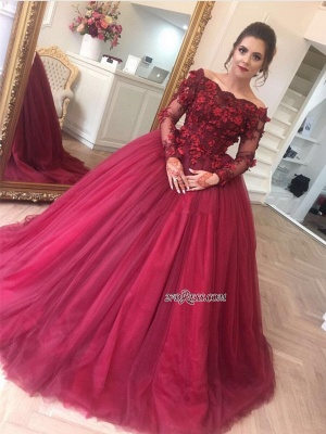 Gorgeous Ball Gown Applique Long Sleeve Burgundy Off-the-Shoulder Prom Dresses BA7967_2