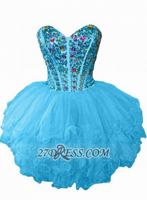 Luxurious Sweetheart Sleeveless Cocktail Dress Colorful Crystals Lace-up Organza Short Homecoming Dress_4