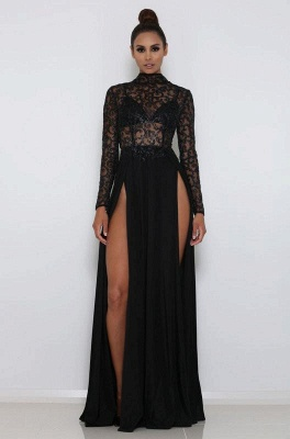 Sexy High Neck Long sleeves Front Split Evening Gown | Black Lace Sequins Floor-Length Prom Dress_1