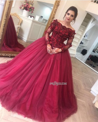 Gorgeous Ball Gown Applique Long Sleeve Burgundy Off-the-Shoulder Prom Dresses BA7967_1