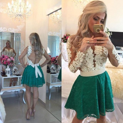 Modern Long Sleeve Pearls 2020 Homecoming Dress Lace Pearls On Sale BT0_3
