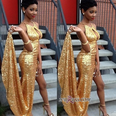 2020 Sexy Newest Side-Slit Sequined Gold Halter Evening Gown qq0100 BK0_1