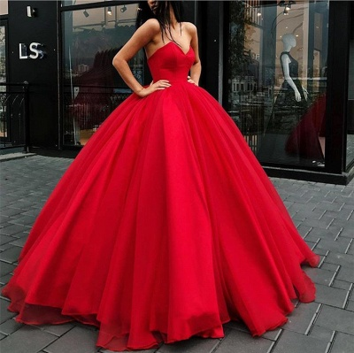 Gorgeous Sweetheart Red Evening Dresses | 2020 Ball Gown Tulle Prom Dresses BC1073_2