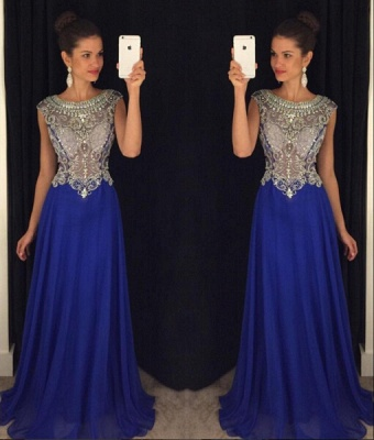 Stunning Scoop Beadings Crystal Evening Dress 2020 Sleeveless Long Chiffon Party Gown_3