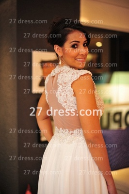 2020 White Lace Sexy Gowns for Evenings Chiffon Vestidos De Fiesta Cap Sleeves Nude Back Prom Dresses_2