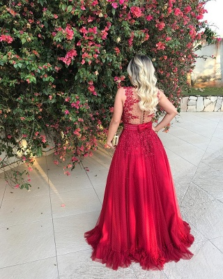 Red Sleeveless Lace 2020 Evening Dress With Beadings Long BMT BA7607_3