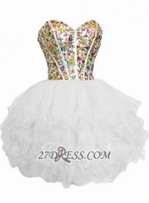 Luxurious Sweetheart Sleeveless Cocktail Dress Colorful Crystals Lace-up Organza Short Homecoming Dress_3