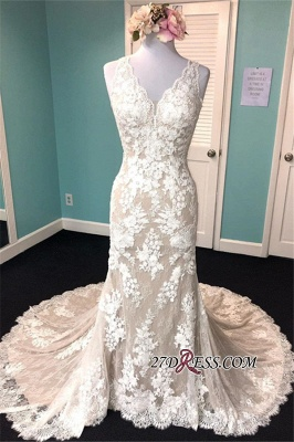 Lace Marvelous Mermaid Appliques V-neck Sleeveless Wedding Dresses_2