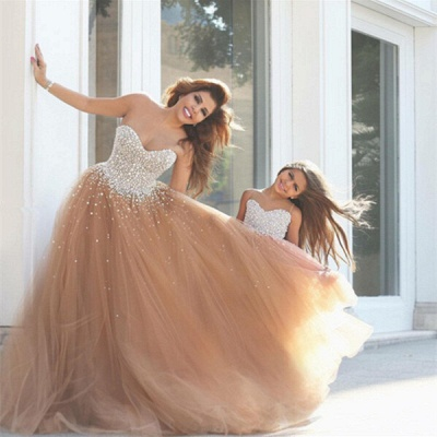 Gorgeous Sweetheart Beadings Prom Dresses 2020 Tulle Mother and Daughter Dress_3