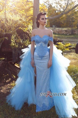 Blue Glamorous Off-the-shoulder Lace Tulle Evening Dress_2