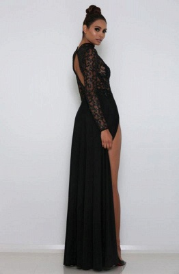 Sexy High Neck Long sleeves Front Split Evening Gown | Black Lace Sequins Floor-Length Prom Dress_2