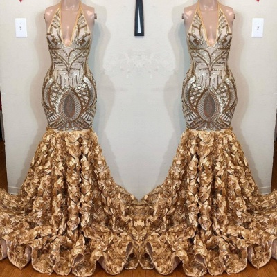 Glamorous Gold Sequins V-Neck Prom Dress | 2020 Mermaid Flowers Bottom Evening Gowns BC1764_3