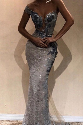 Sexy Sequins Long Mermaid Prom Dresses | One-Shoulder Sheath Length Gorgeous Floor Prom Dresses_3
