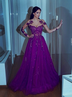 Charming Sweethheart Beaded Prom Dress 2020 | Floor Length lace Appliques Long Sleeves Evening Gowns_1