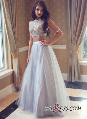 Long Tulle Beadings Two-Pieces Beautiful Prom Dress_3