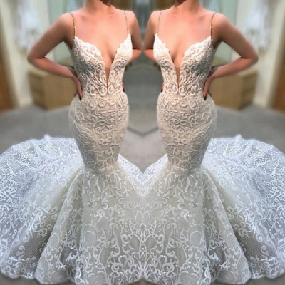 Elegant Spaghetti Strap Sleeveless V Neck Mermaid Bridal Gown | 2020 Modest Lace Appliques Wedding Dress_2