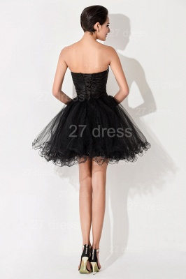 Sexy Black Sweetheart Short Tulle Homecoming Dress Peacock Design_4