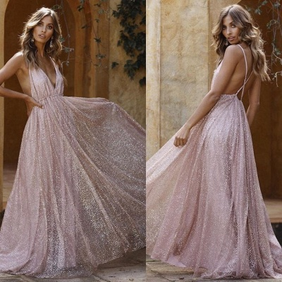 Sexy Pink Sequins A-Line Prom Dresses | Spaghetti Straps Backless Evening Dresses BC1625_2