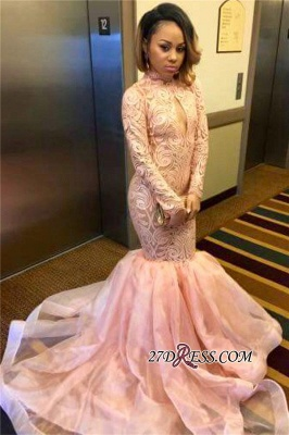 Sexy Pink Mermaid Keyhole Tulle Long-Sleeve High-Neck Prom Dress_1