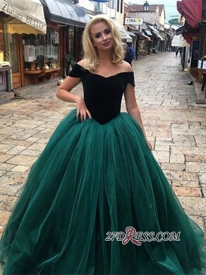 Off-The-Shoulder Glamorous Tulle Ball Gown 2020 Long Prom Dresses_3