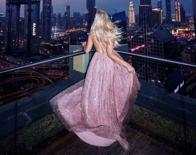 Sexy Pink Sequins A-Line Prom Dresses | Spaghetti Straps Backless Evening Dresses BC1625_4