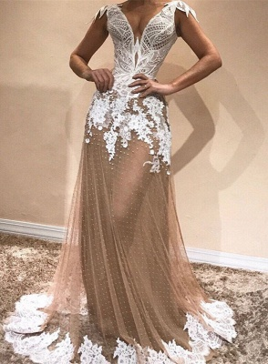 Glamorous Cap Sleeve 2020 Prom Dresses | Long Tulle Appliques Evening Gowns BC1671_1