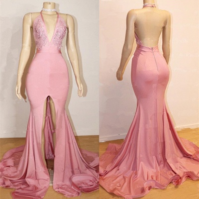 Elegant Pink 2020 Prom Dress | Backless Lace Evening Gown With Slit BA9087_3
