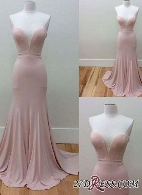 Pink Sleeveless Long Sweetheart-Neck Simple Mermaid Prom Dresses_2