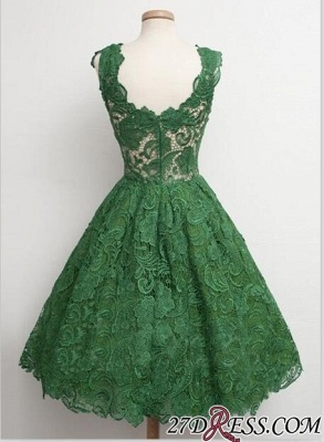 Straps A-line Lace Sleeveless Newest Green Homecoming Dress_2