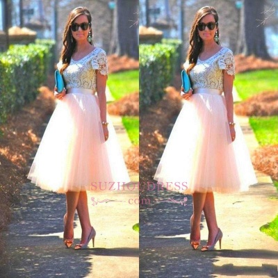 Lace Tulle Short-Sleeves A-Line Tea-Length Homecoming Dress_1