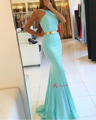 Mermaid Sweep-train Sexy Halter Evening Dresses_2
