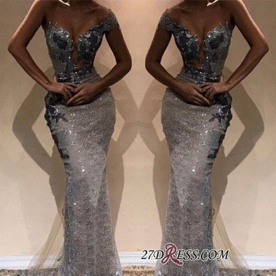 Sexy Sequins Long Mermaid Prom Dresses   One-Shoulder Sheath Length Gorgeous Floor Prom Dresses_2