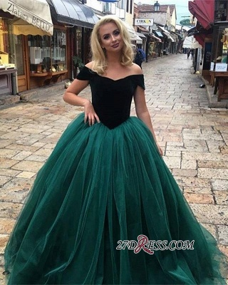 Off-The-Shoulder Glamorous Tulle Ball Gown 2020 Long Prom Dresses_1
