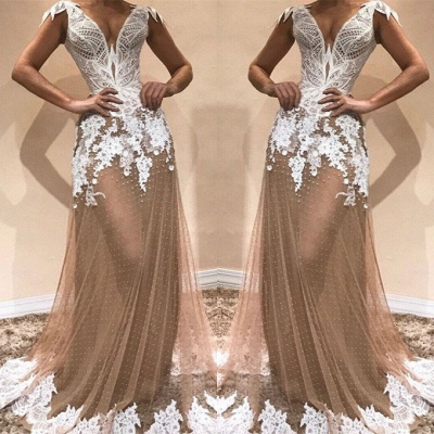 Glamorous Cap Sleeve 2020 Prom Dresses | Long Tulle Appliques Evening Gowns BC1671_2
