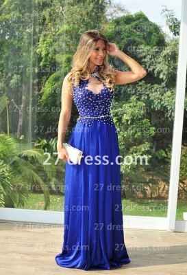 Chiffon Royal Blue Prom Dresses 2020 New Arrival Gowns for Evenings High Collar Sheer Back Lace Pearls Long Vestido Long_4
