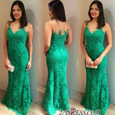 Lace Long Elegant Mermaid Sleeveless Floor-length 2020 Prom Dress_1