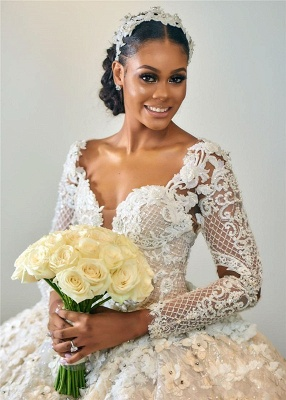 Gorgeous Floral Beading Appliques Ball Gowns Long Sleeve Bridal Gown_3