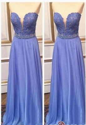 2020 Floor-Length Cheap Sweetheart Crystal Lace A-Line Prom Dresses_2