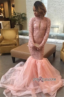 Sexy Pink Mermaid Keyhole Tulle Long-Sleeve High-Neck Prom Dress_2