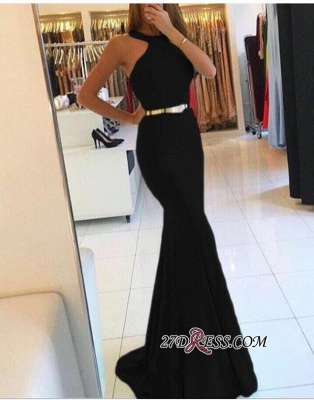 Mermaid Sweep-train Sexy Halter Evening Dresses_1