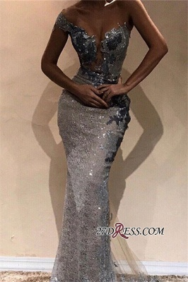 Sexy Sequins Long Mermaid Prom Dresses   One-Shoulder Sheath Length Gorgeous Floor Prom Dresses_1
