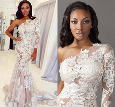 Sexy One-shoulder Mermaid Evening Dress Lace Appliques Sweep Train_2