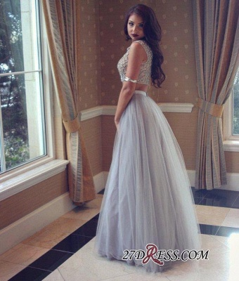 Long Tulle Beadings Two-Pieces Beautiful Prom Dress_2