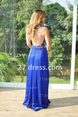 Chiffon Royal Blue Prom Dresses 2020 New Arrival Gowns for Evenings High Collar Sheer Back Lace Pearls Long Vestido Long_2